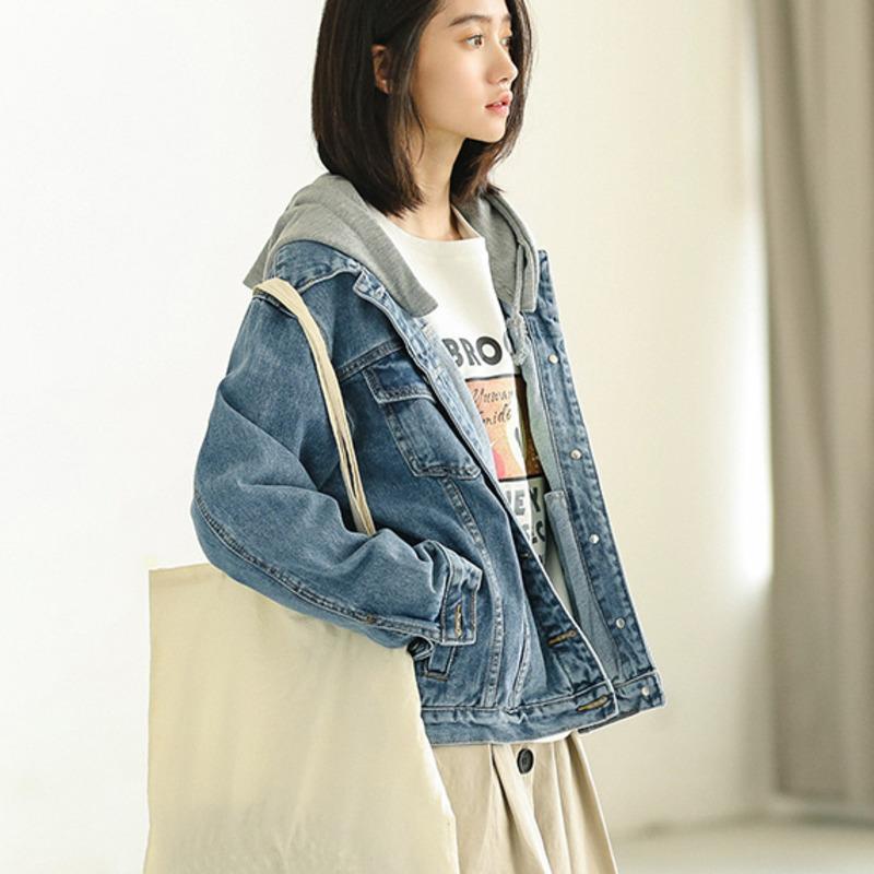 Autunno Inverno stile coreano lavabile denim cappotto Loose Women Hooded Jacket jeans Allievo casuale maniche lunghe Outwear i vestiti