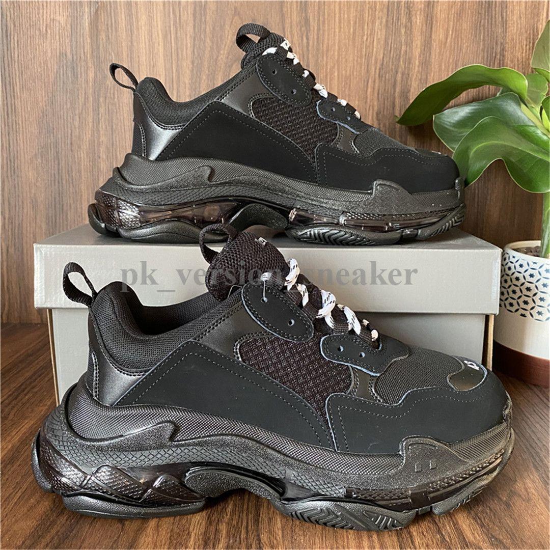 Preto Paris Homens Conforto calçados casuais Triple S Limpar Sole Trainers Dad sapatos Sneaker Cristal inferior das mulheres dos homens Malha Chaussures Runner