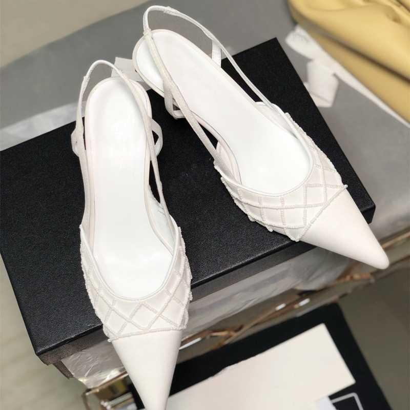 ayakkabılar Kadınlar Yüksek topuk Moda Kadınlar Yaz yeni Kayma İçin Rahat İnci Bordürlü Sivri Burun Ayakkabı
