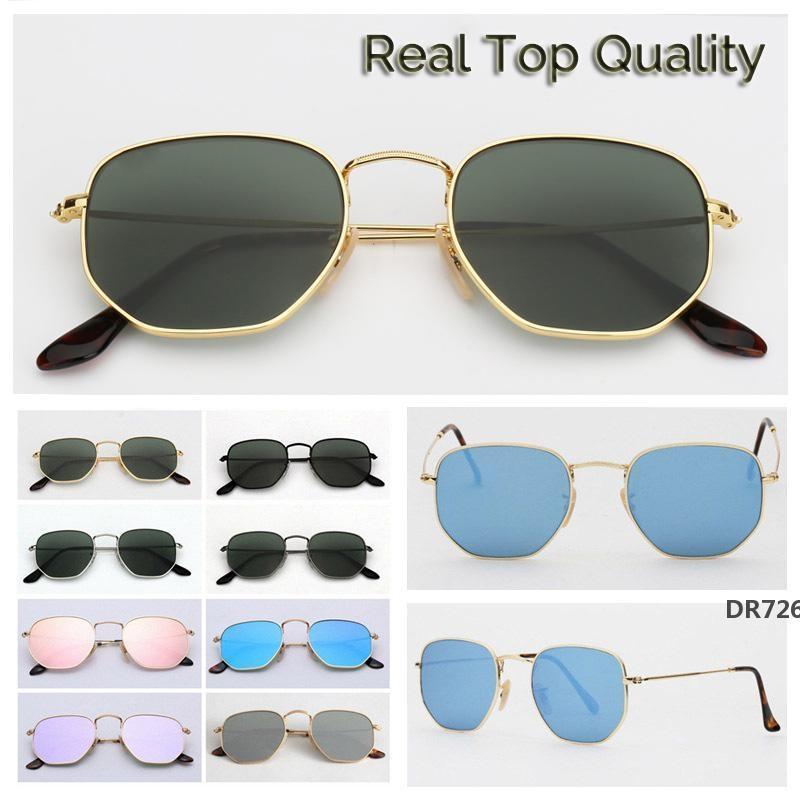 hexagonal men women sunglasses flat glass lenses for mens womens sunglasses lentes women mens glasses with retail package hotDR726