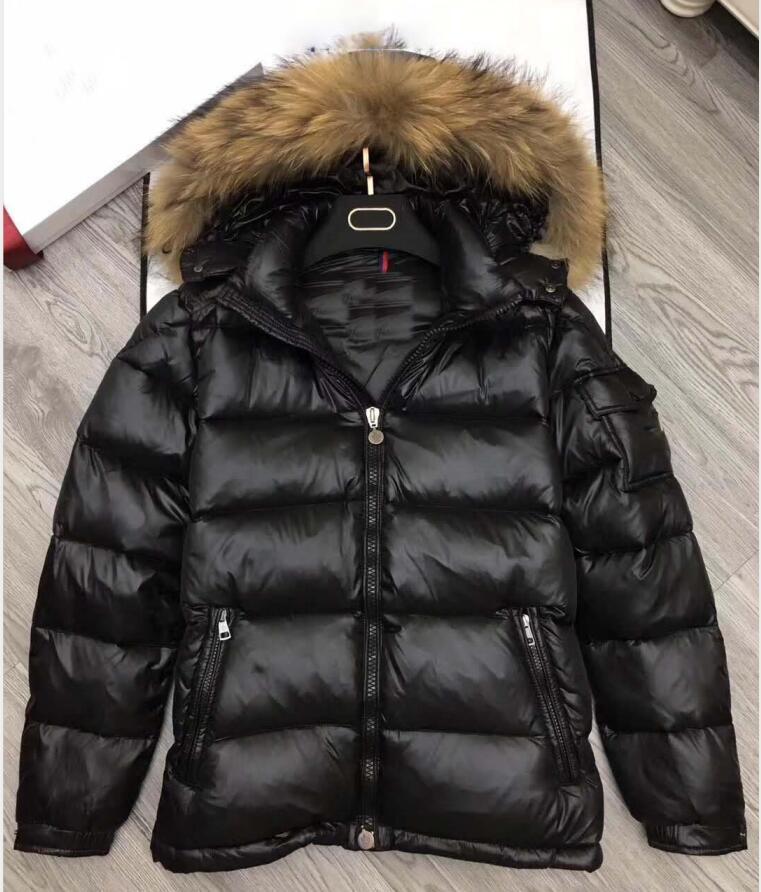 Di pelliccia di procione giù cappotto della chiusura lampo di inverno nero uomini britannici di stile giù cappotto del cappuccio della giacca classica tenere in caldo Spesso Parka da uomo giacca di Down S-XXXL