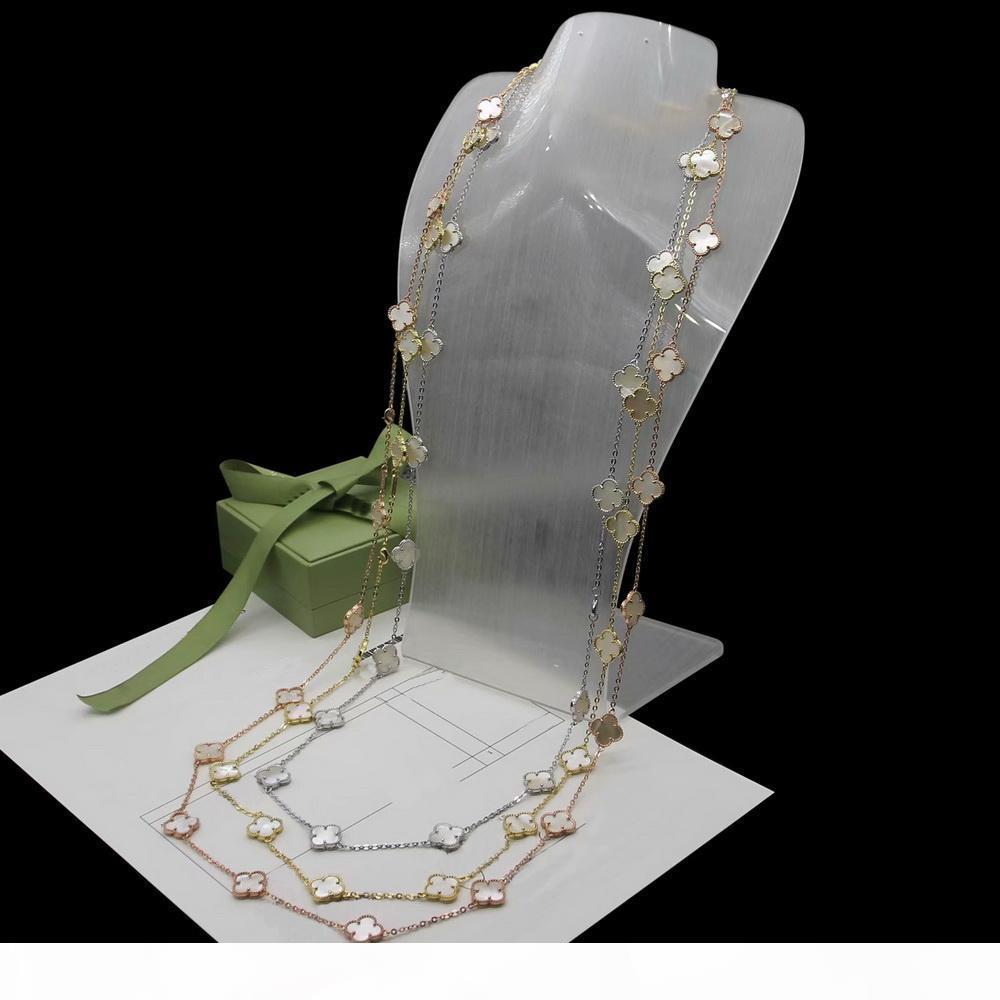 suéter cadena de señora Women Vintage Brass 20 Motivos Onyx madre de la perla malaquita cornalina flor de cuatro hojas 18K Collar largo de 3 colores