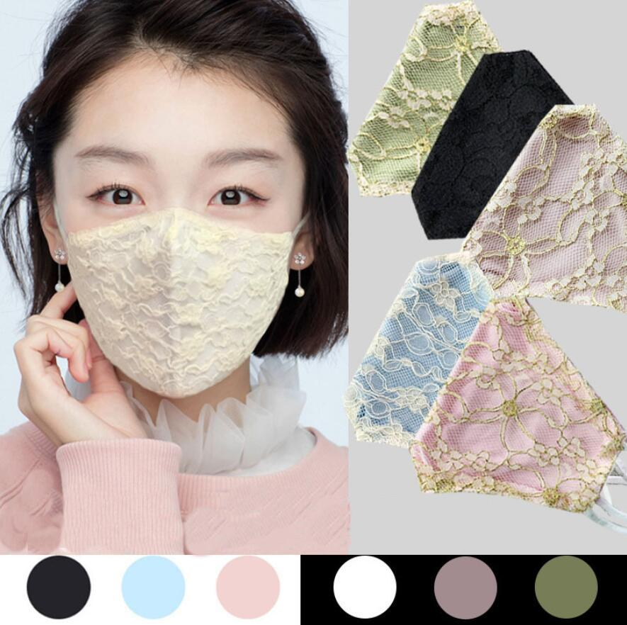 Spring and summer Lace mask Double Layer Breathable Thin Face Mask Outdoor Women's Dustproof Hanging ear mask Designer Masks gift