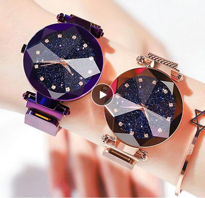 Ladies Magnetic Starry Sky Clock Mulheres Relógios Moda Diamond Feminino Quartz Relógios de pulso Relógio Feminino Zegarek Damski