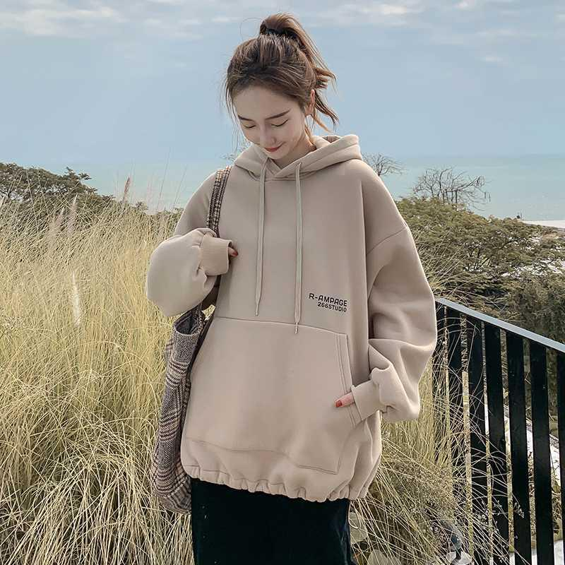 2020 Autumn winter Solid color hooded pullover women fashion spring autumn loose office ladies INS tide hooded female pullover
