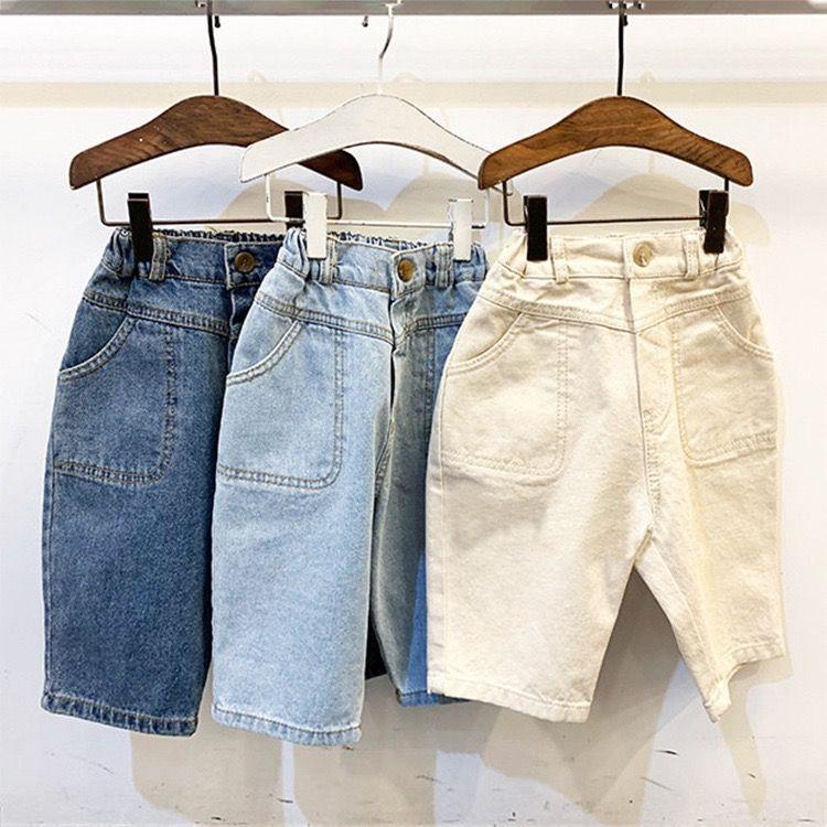 JK INS-coreano Estilo mais novo crianças Meninas Jeans Denim Trousers Outono Calças Pockets Designer cintura elástica Outono Crianças Unisex Calças