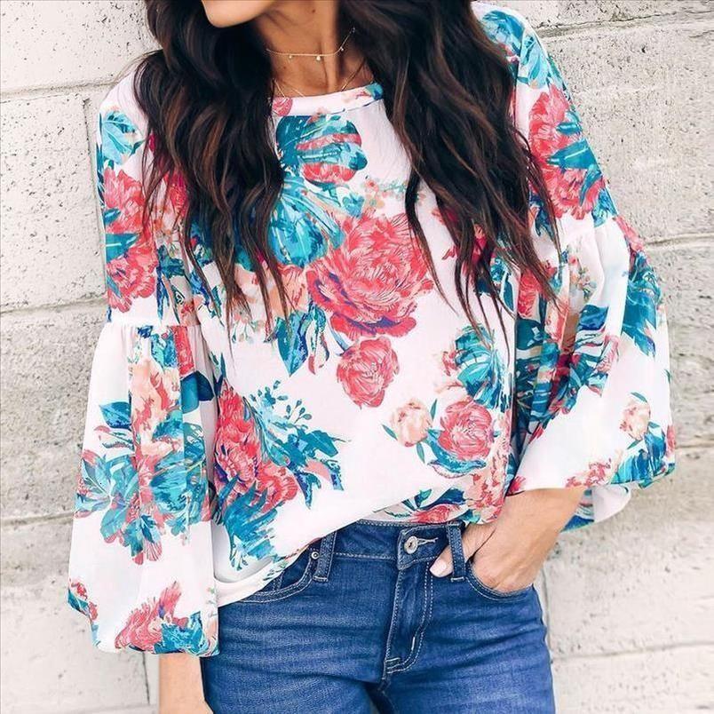 Kadınlar Bluz Moda Bohem Çiçek Baskı Uzun Kollu O Boyun Gevşek Gömlek Uzun Kollu Bluz Drop Shipping Tops