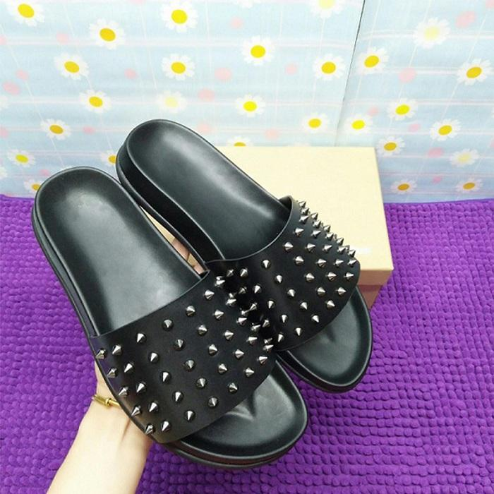 Sandalias de los hombres mujeres de la moda tapa ocasional roja marca zapatilla parte inferior del zapato masculino de vaca de alta calidad de hombre de cuero zapatos de cuero genuino