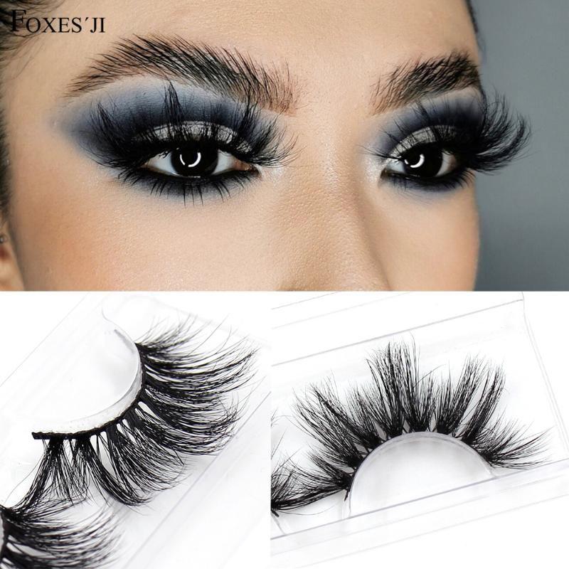 FOXESJI Cílios 5D Mink Eye Lashes Fluffy Cruz Grosso Volume dramática completa Mink pestanas falsas pestana caixa de embalagem de Maquiagem
