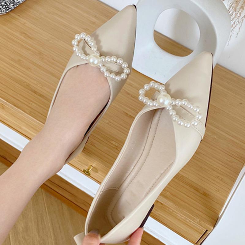 2020 Nouveau Femmes Flats Chaussures causales Pointu Toe Bureau Perle Chaussures Femme élégante femme Slides peu profonde robe douce Lady Flats
