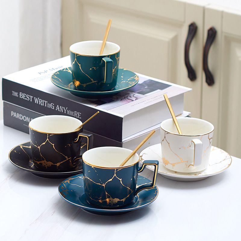 Tazza da tè in ceramica marmo della tazza di caffè piattino Spoon Set 200ml Nordic Matt Porcelain Tea Set avanzata Teacup Cafe Espresso Cup