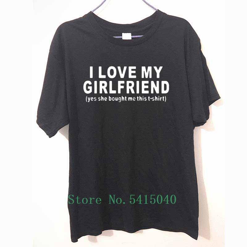 Nouveau mode Je aime mon amie manches courtes drôle Hommes Cadeau Boyfriend T-shirt T-shirts 100% coton T-shirts