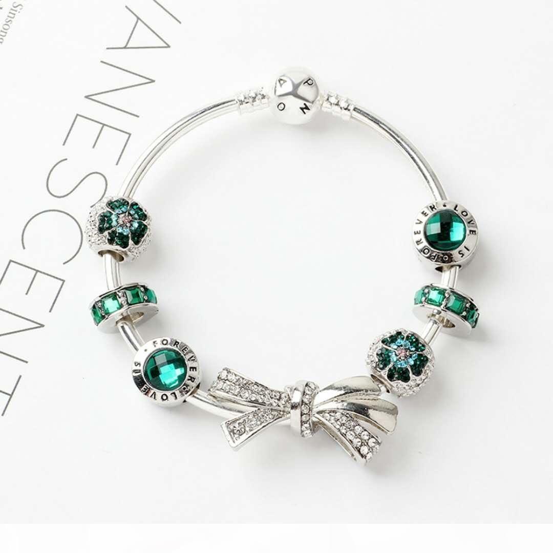 New fashion 925 silver bracelets charm bracelet bow knot bracelets charm beads bangle DIY Jewelry for Christmas and valentine gift