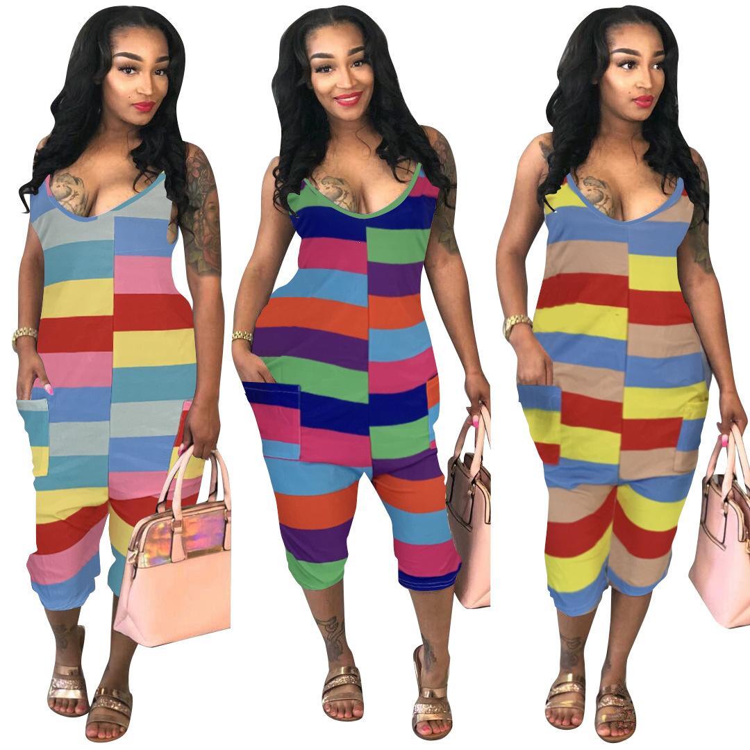 2020 New roupas baratas China atacado europeus e americanos da Mulher Sexy de Mulheres Jumpsuits macacãozinho Cor Listrado Suspender Jumpsuit