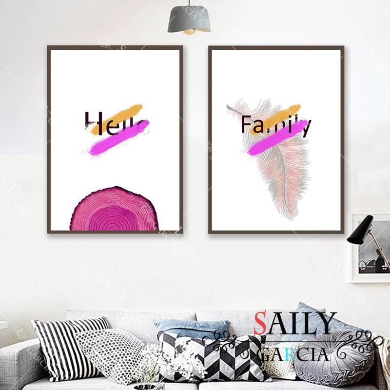 2020 Nordic Quotes Art Canvas Painting Hello Family Feather Decor Posters Modern Home Decoration Print Wall Picture For Living Room From Cccofficialstore 3 Dhgate Com
