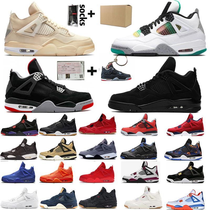 2020 Парус 4 4s Black Cat White Cement What The Splatter Mens Basketball обувь Travis Скоттс Кактус Джек Блэк серый Мужчины Женщины Спортивные кроссовки