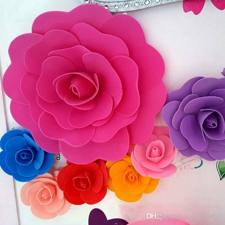 """30cm (12"""" ) fundo grande Foam Rose Flor Stage Para Casamento Porta Decoração do partido da flor decorativa Suprimentos 42 Cores"""