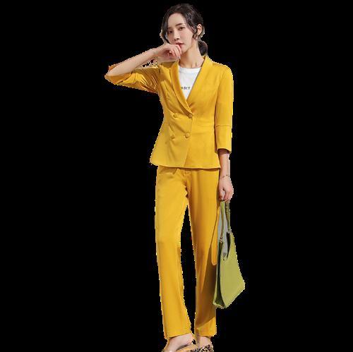 Luva dos três quartos Abotoamento Blazer Define Rosa Amarelo Preto Pant Suit Plus Size Escritório Ladies Jacket calças Trabalho Suíte