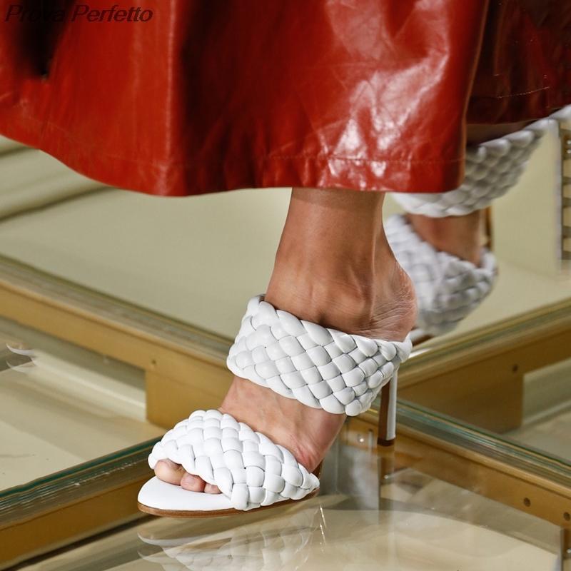 2020 cuoio intrecciato ad alta Sandali donna Runway partito Croce Wove Folds Mules Scarpe Sexy Thin Heel Pantofole donna CX200715