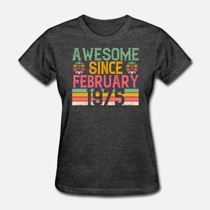 Les hommes t-shirt Impressionnant Depuis Février millésime 1975 Rétro anniversaire T-shirts femme