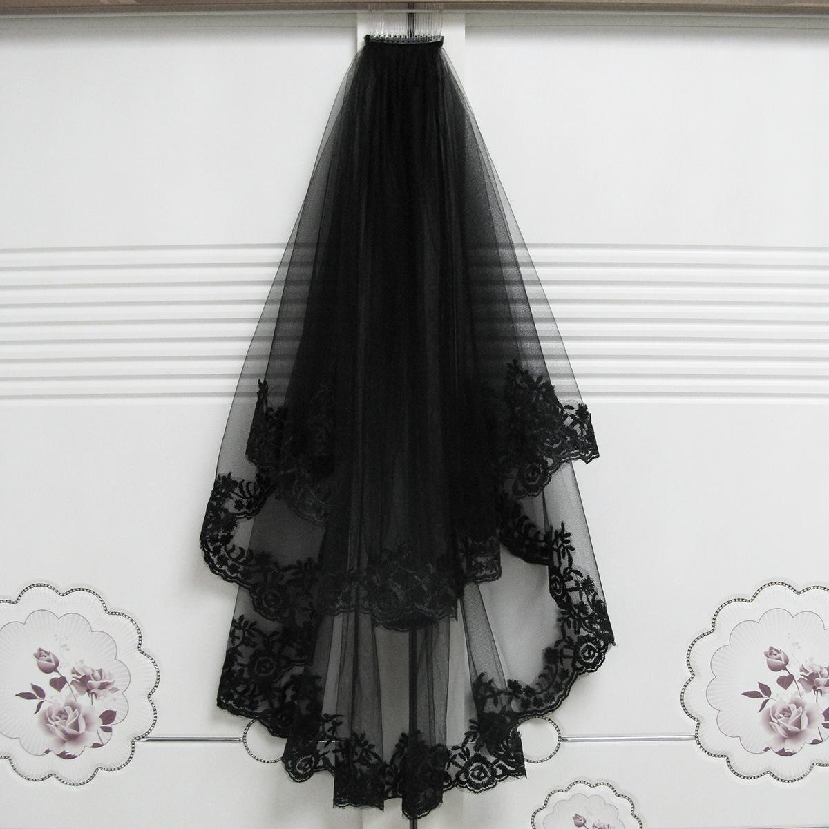 Velos negro velo de novia bruja de Halloween tocado corto velos nupciales del cordón de 2020 Velo barato Negro gótico único romántica de la boda con el peine
