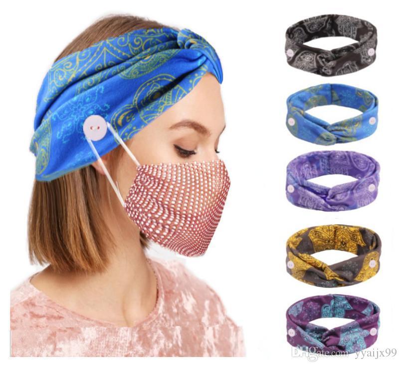 Élastique Bandeaux avec bouton pour masque femmes Trimless bandeau large torsion Noeud charme Bande cheveux bande florale tête