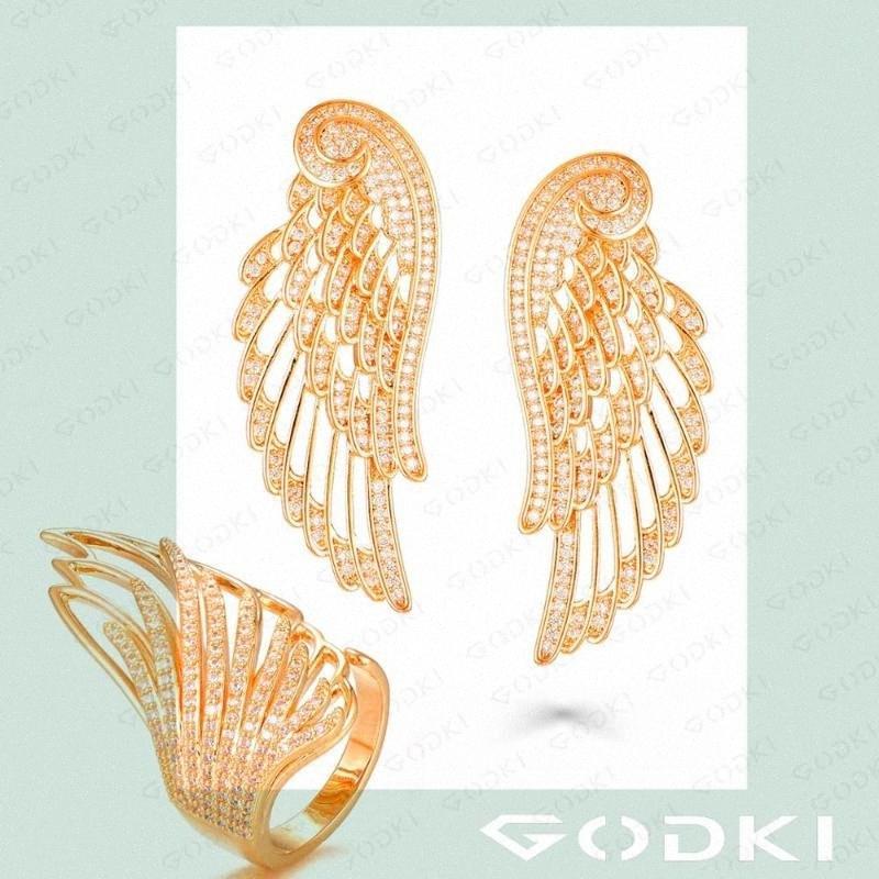 Gioielli GODKI angelo di nozze set completo Mirco Imposta cubico zircone Wedding Orecchino ad anello European Fashion Jewelry Set2020 rz4N #