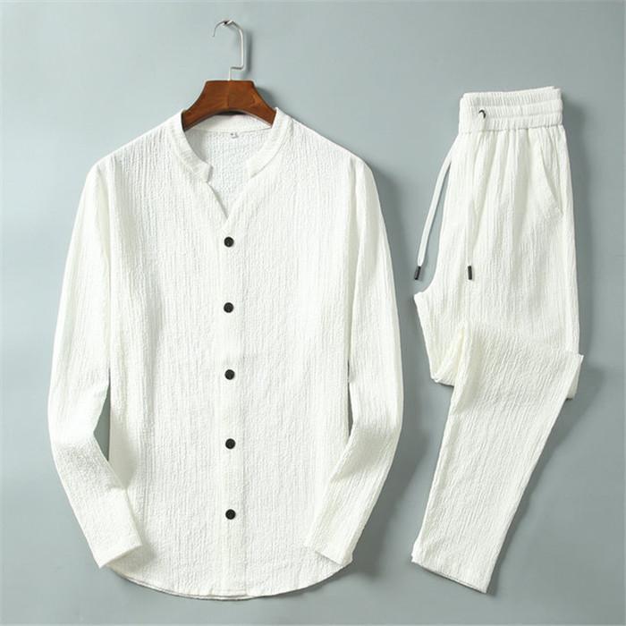 Nouveau Mode Hommes Vêtements de sport, homme pantalon molletonné Casual T-shirt à manches longues + bouton V-cou hommes gilet Survêtement