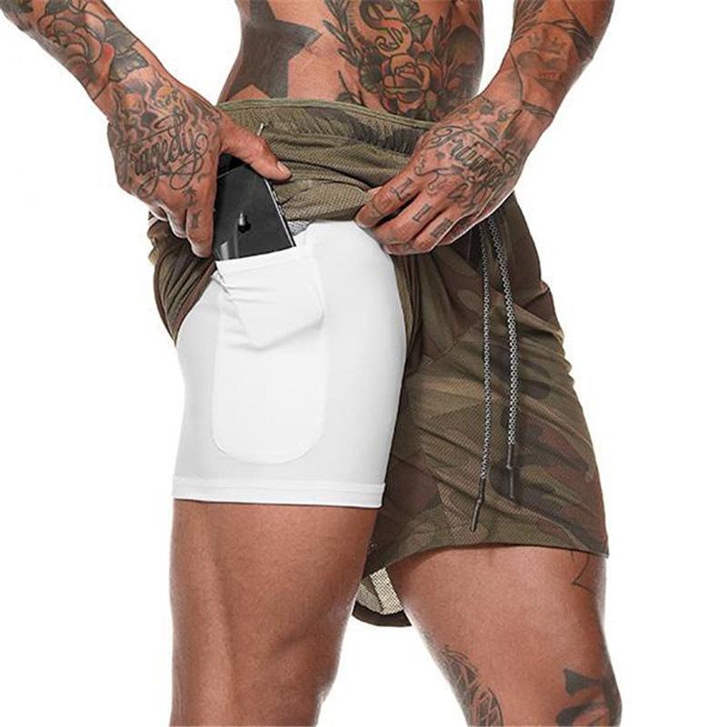 2 en 1 para hombre Correr GYM pantalón corto integradas en teléfonos de bolsillo Liner pantalones de entrenamiento gimnasio de entrenamiento de culturismo con Pocket pantalones casuales