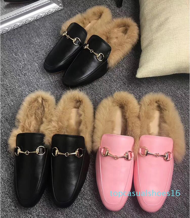 Brand New женщин Princetown кожа Трусы с меховой Suede бархатной зимы башмачок Мокасины Muller Flat EUR35-42 с коробкой t01