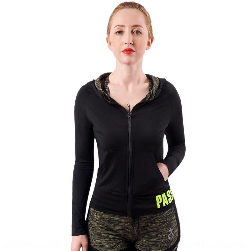 Neue Fitness-Abnutzungsfrauen elastische schnelltrocknend Strumpfhosen Training im Studio Yoga-Bekleidung mit Kapuze Yoga Anzug tightstights tightszipper Mantel