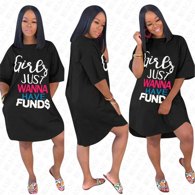 RAGAZZE Just Wanna Have FONDO Lettera Oversize vestire alla moda estate delle donne allentate Vestiti Gonne Solido generale di modo di Elegent maglietta lunga D71612