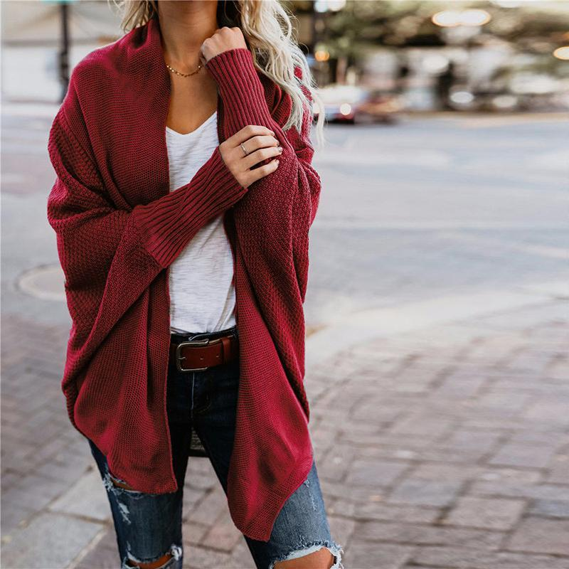 Fashion Womens Designer Sweater Jacket 2020 New Arrival Solid Color Womens Batwing Sleeve Sweaters Casual Ladies Jacket Size S-XL