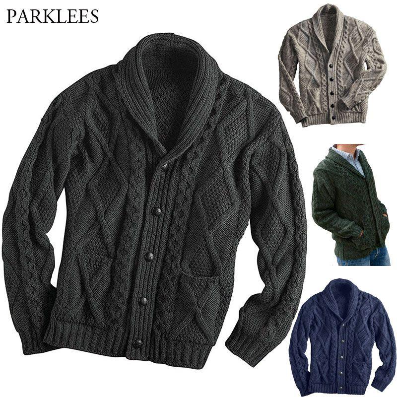 Chaqueta de punto chaqueta de punto de los hombres solo pecho Botón Escudo bolsito para hombre de los suéteres ocasionales adelgazan la Gira trenzado Jumper Tire