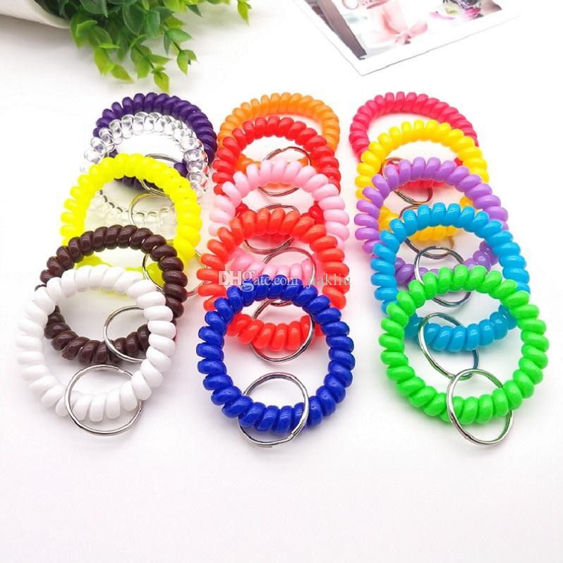 molla di plastica mano anello 5,5 centimetri ragazze elastico HairBand corda anello braccialetto caramelle di colore Accessori per capelli A2112