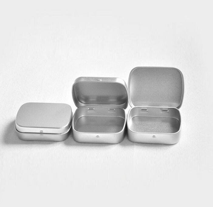 1000pcs petite boîte en fer blanc de charnière de taille étain d'argent carré boîte étain brut d'étanchéité # 8209