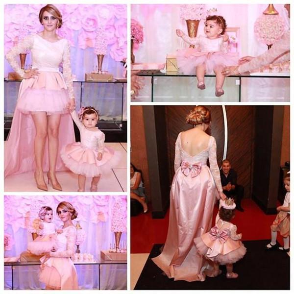 Florista do bebê Meninas Pageant Vestidos Cupcake Bow aniversário Knot Lace mangas compridas rosa Puffy vestidos de noiva primeira Comunhão Vestidos