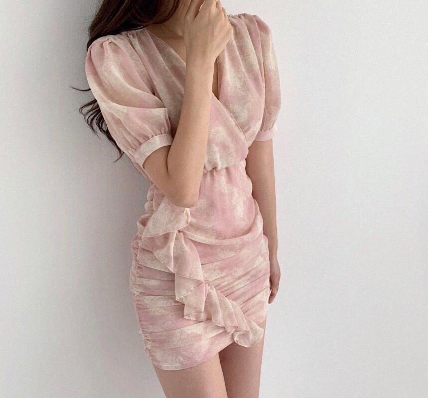 mancha de tinta Corea del Sur comodín elegante sombreado vestido con cuello en V cruzado borde del agárico mEL7 #