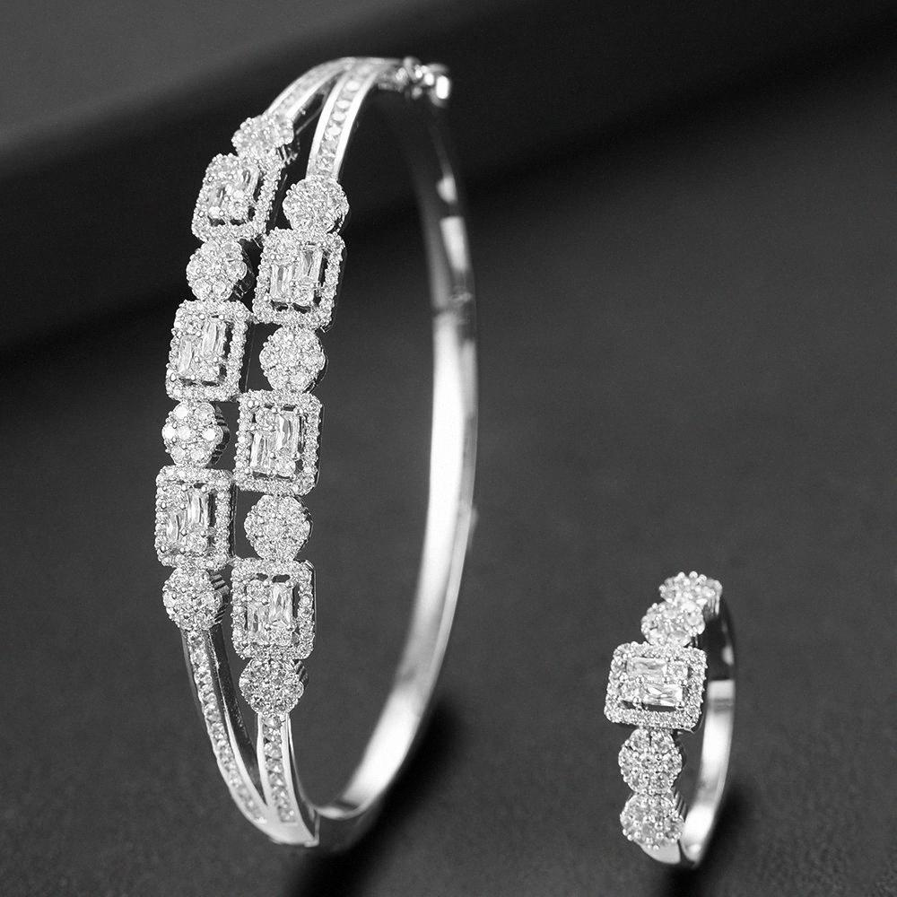 LARRAURI 2ST Dubai Braut Afrikanische Hochzeit Schmuck Sets Anhänger CZ Zircon Geometric Armbänder / Ring für Frauen Schmuck Sets QgHj #
