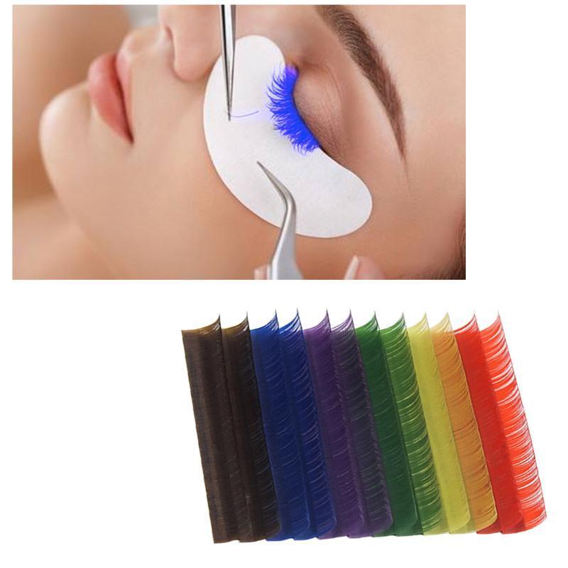 12Rows / Set 6colors naturel Faux Cils Extension mixte Rainbow coloré Cils individuels Beauté Outil de maquillage
