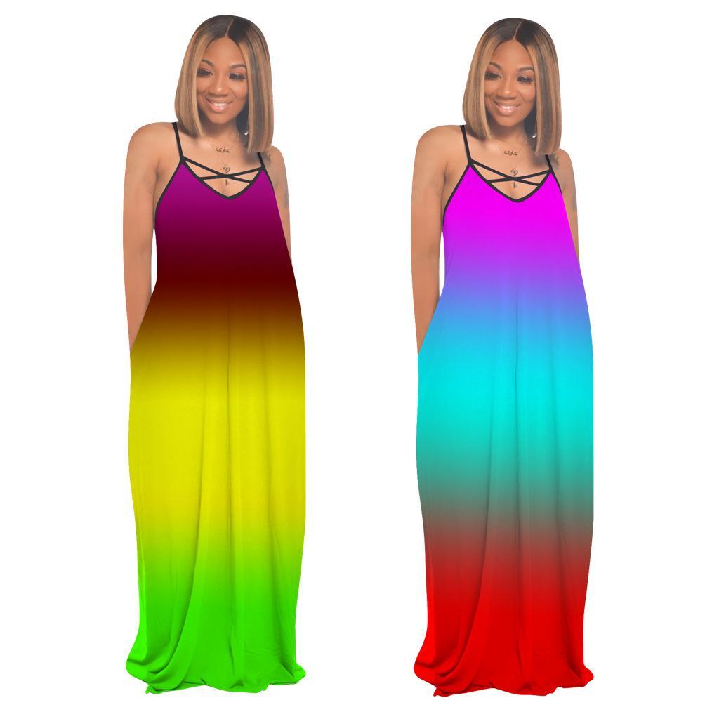 Arcobaleno stampa tie-dye lunghe cinghie Abiti Donna di pendenza del merletto di estate colore Fino scollo a V tasche laterali Split Giallo Blu Abito da DHL FEDEX