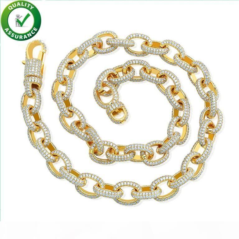 Cadenas hacia fuera helado Hip Hop de lujo de diseño de joyería de oro collar de hombres Bling Cuban Link encantos estilo de diseño de la cadena de moda Accesorios de boda