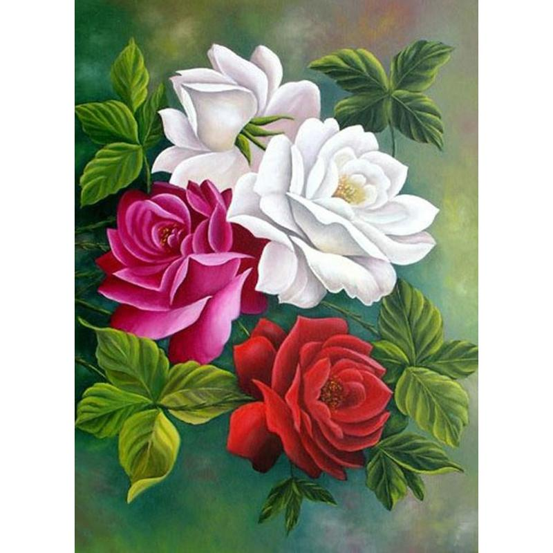 Diamond Painting Beautiful White Rose Cross Stitch Mosaic Painting Home Decor