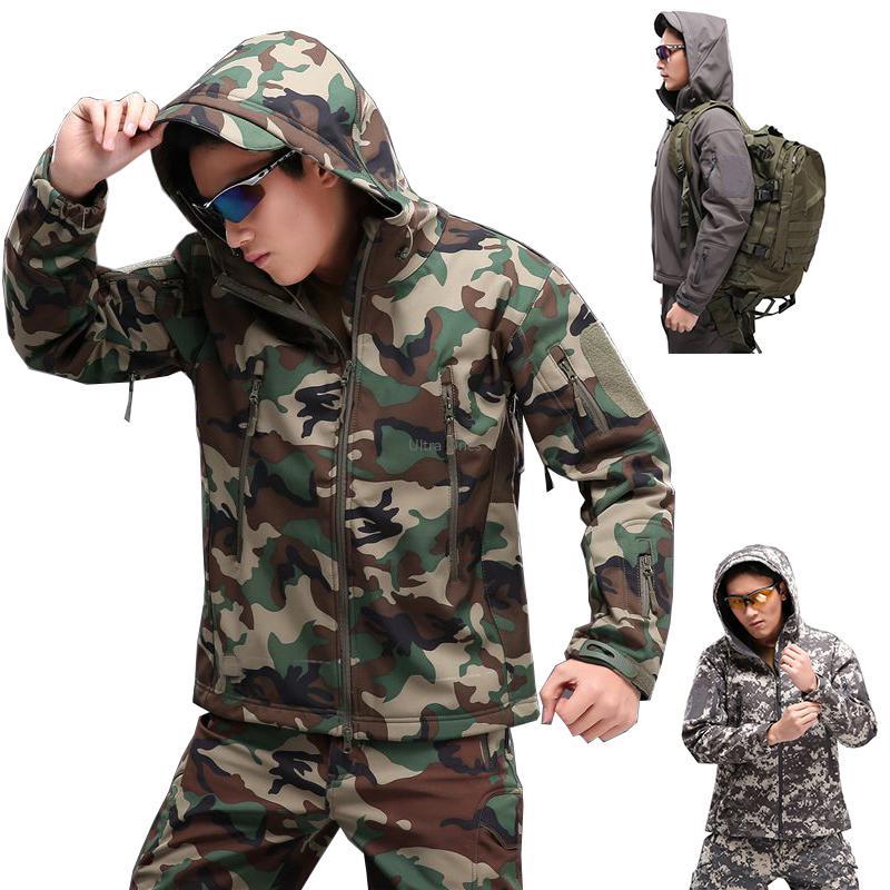 Jacket tático para Homens Caminhadas Caça Camping Softshell casacos impermeáveis Brasão Camouflage Mulheres à prova de vento Cs Wargame