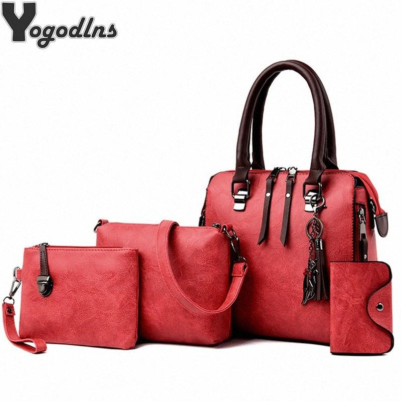 4 Pieces/set Handbags Women Vintage PU Leather Bags Tassel Messenger Bags Composite Shoulder Clutch Female 5Kwm#