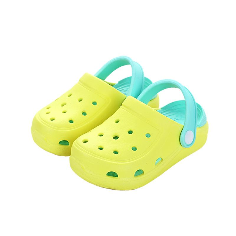 Пляж Тапочки Летние Крытый Детская обувь Сплошные цвета Hole малыша младенца скользких девочек сандалии и тапочки мальчиков