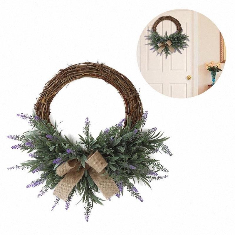 Décoration de Noël Pendentif fleur guirlande de fleurs artificielles Ornement Couronne porte décoration 07Zd #