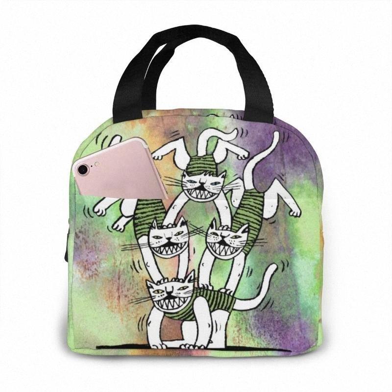 NOISYDESIGNS Katzen Graffiti-Karikatur-Mittagessen-Beutel-Beutel-Aufbewahrungsbehälter Isolier-Cooler Picknick-Taschen-Qualität für Frauen Kinder Jb4D #
