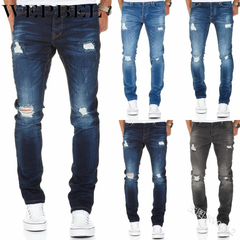 WEPBEL Jeans Men's Casual Slim-Fit Hole Washed Ripped Jeans Fashion Mid-Waist Straight Denim Pencil Pants