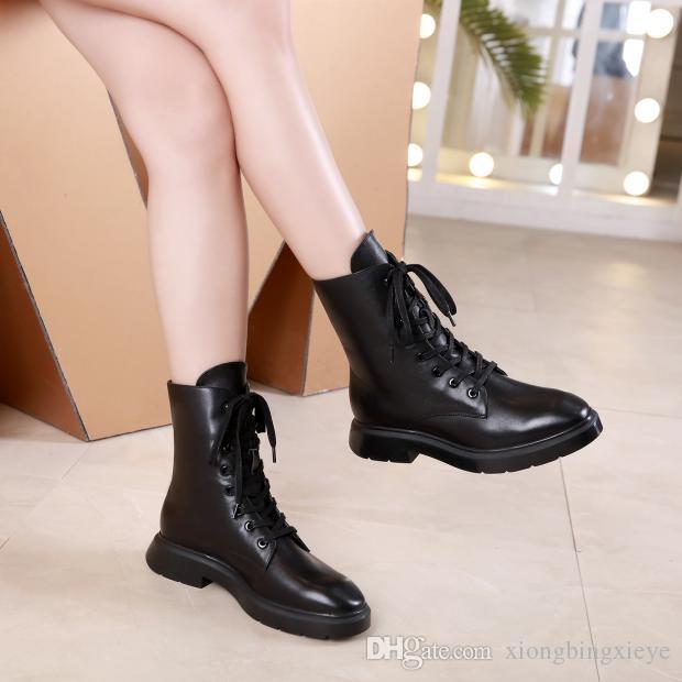botas de color negro negro botas de vaquero de moda Martin tobillo nuevas mujeres del diseñador de lujo señoras gruesas inferiores planas de los zapatos